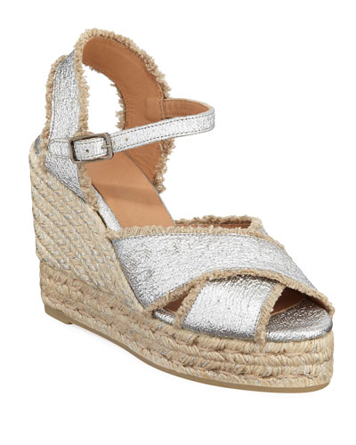 100mm Bromelia Wedge Crisscross Espadrille Sandals