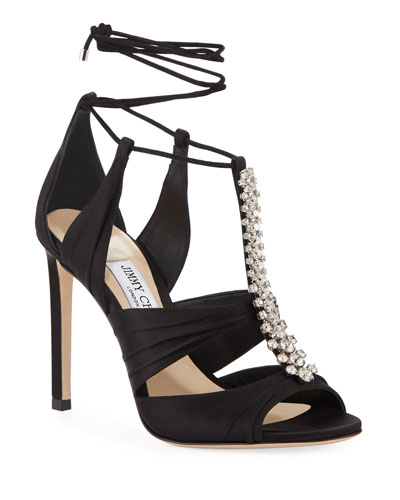 Kenny Satin Crystal Sandals