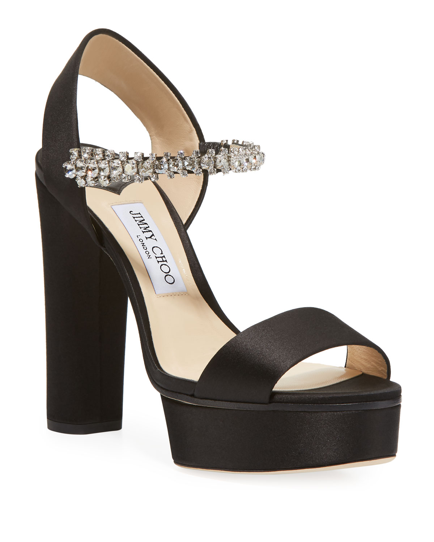 Women'S Santina 125 Embellished High Block-Heel Platform Sandals in Black