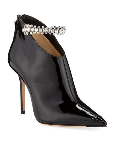 Blaize Crystal-Strap Patent Booties