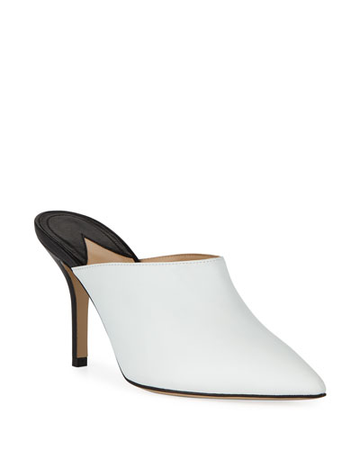 Certosa Point-Toe Colorblock Leather Mules