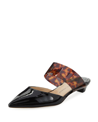 Right Away Patent/Vinyl Kitten-Heel Mules