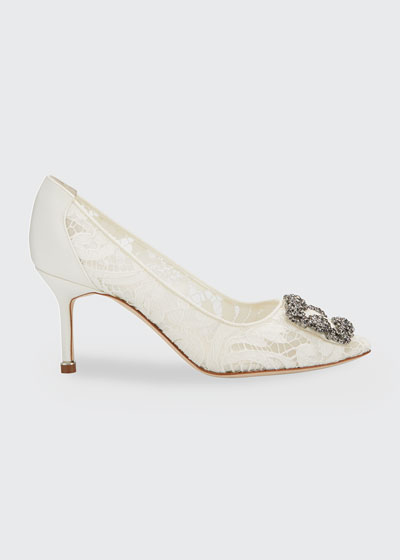 Hangisi Mid-Heel Satin & Lace Pumps
