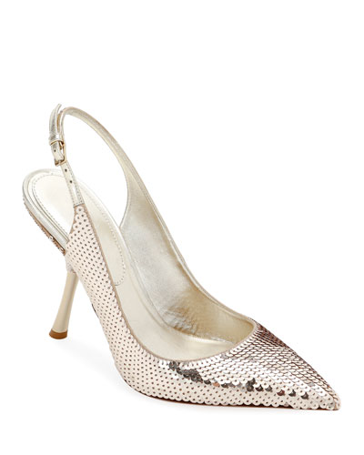 Sequined Slingback In-Heel Pumps