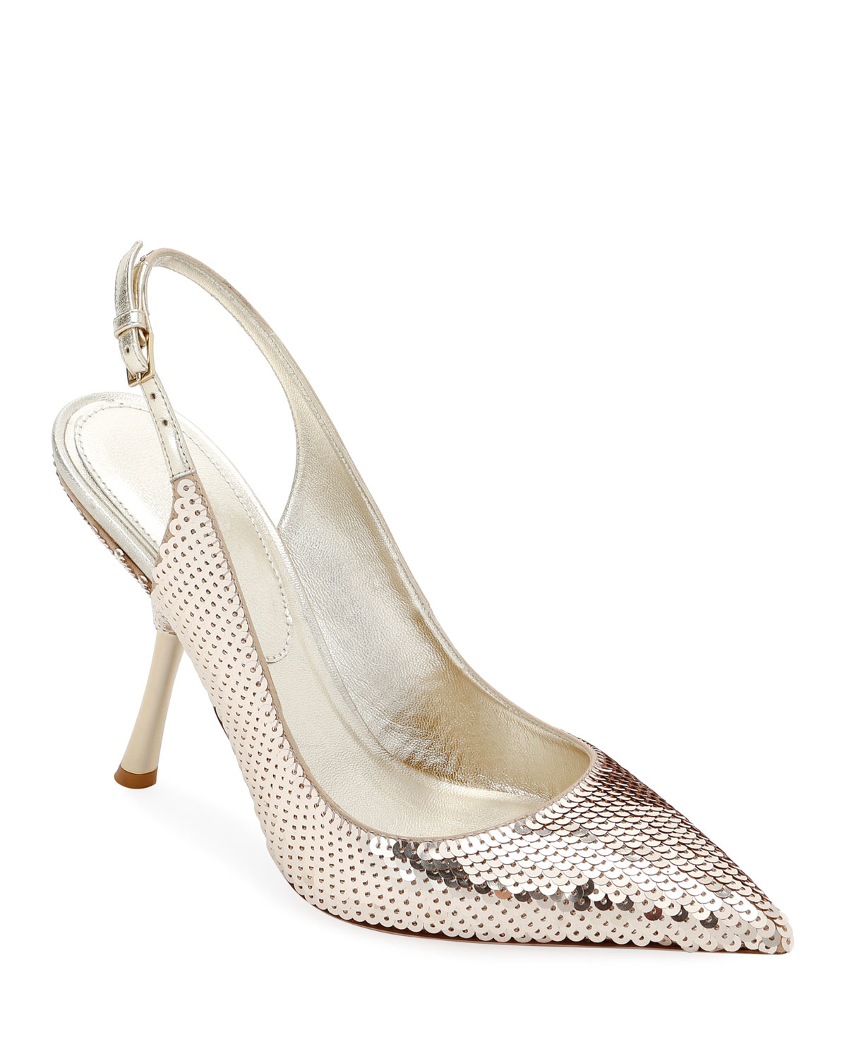 Valentino Leathers SEQUINED SLINGBACK IN-HEEL PUMPS