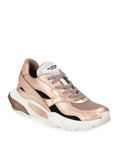 Bounce Metallic Leather/Nylon Lace-Up Sneakers