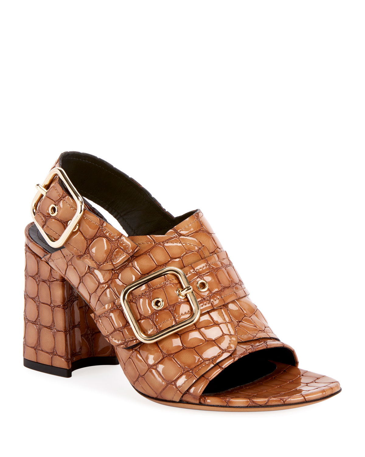 Shiny Alligator-Print Sandals in Beige