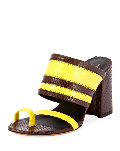 Two-Tone Snake-Print Slide Sandals