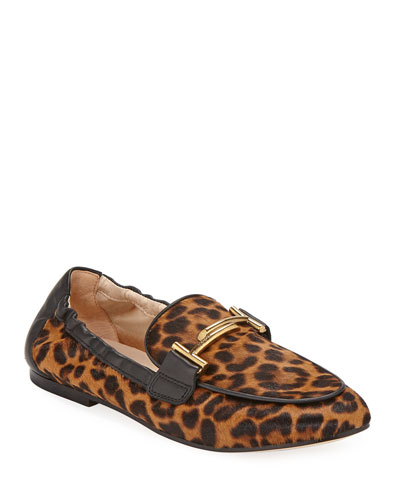 Leopard-Print Calf Hair Double T Loafers