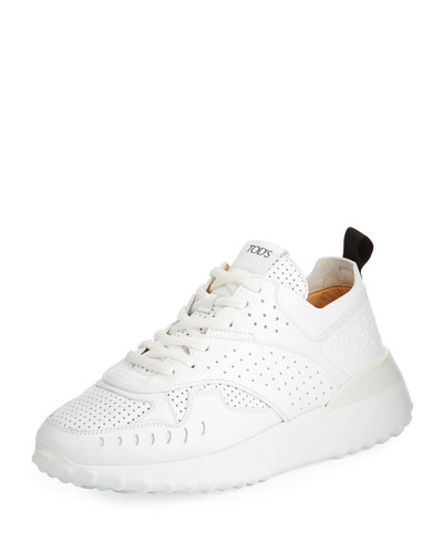 Logo Perforated Leather Shoes. Perforated Leather Running Sneakers 3378e73e3e4