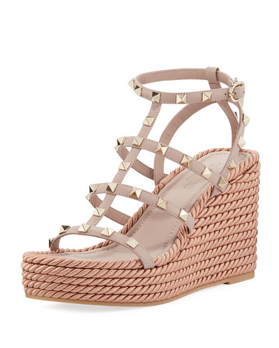 aefffd2ca27d Rockstud Caged Wedge Sandals