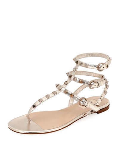 0c37c7435da Rockstud Metallic Thong Sandals