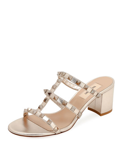 158dd1a16e41 Rockstud Metallic Slide Sandals Quick Look. Valentino Garavani