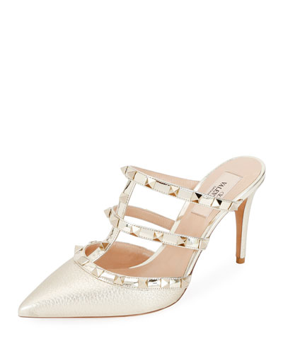 Rockstud Metallic Pointed Slide Mules