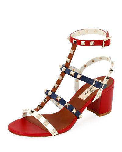 Rockstud Colorblock Slide Sandals