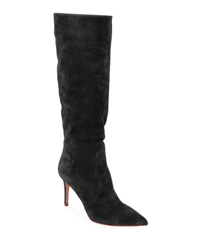 Slouchy Suede Knee Boots, Black