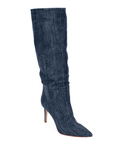 Slouchy Denim Mid-Calf Boots