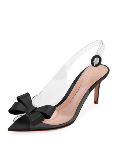 Plexi Bow Slingback Pumps