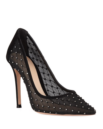 Crystal-Lace Pointed Pumps