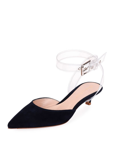 Low-Heel Plexi Buckle Slingback Pumps