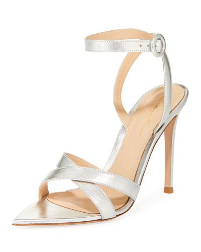 Metallic Crisscross Strappy Sandals