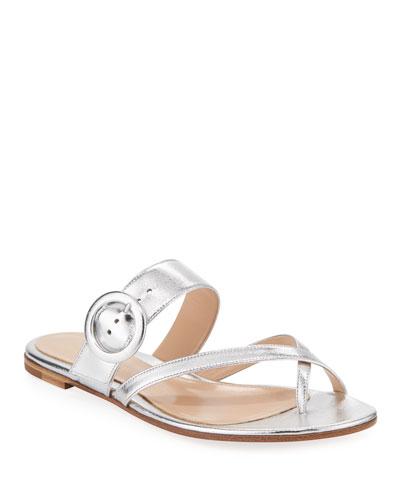 Metallic Crisscross Sandals