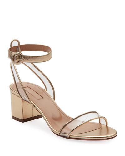 Minimalist Metallic Block-Heel Sandals
