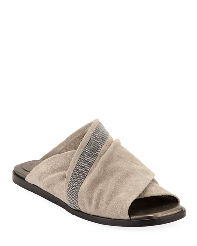 Rustic Suede Crisscross Sandals
