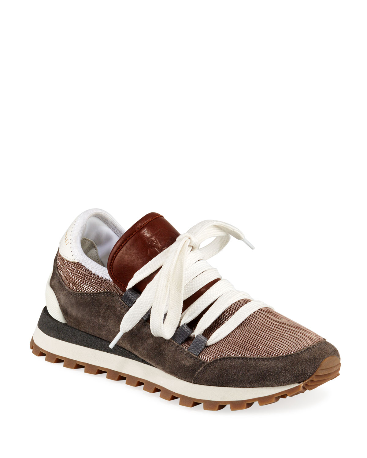 Techno Net Sneakers With Wide Laces, Cinnamon