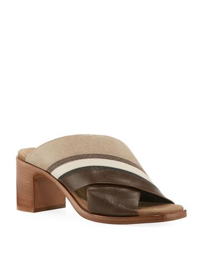 Colorblock Crisscross Sandals