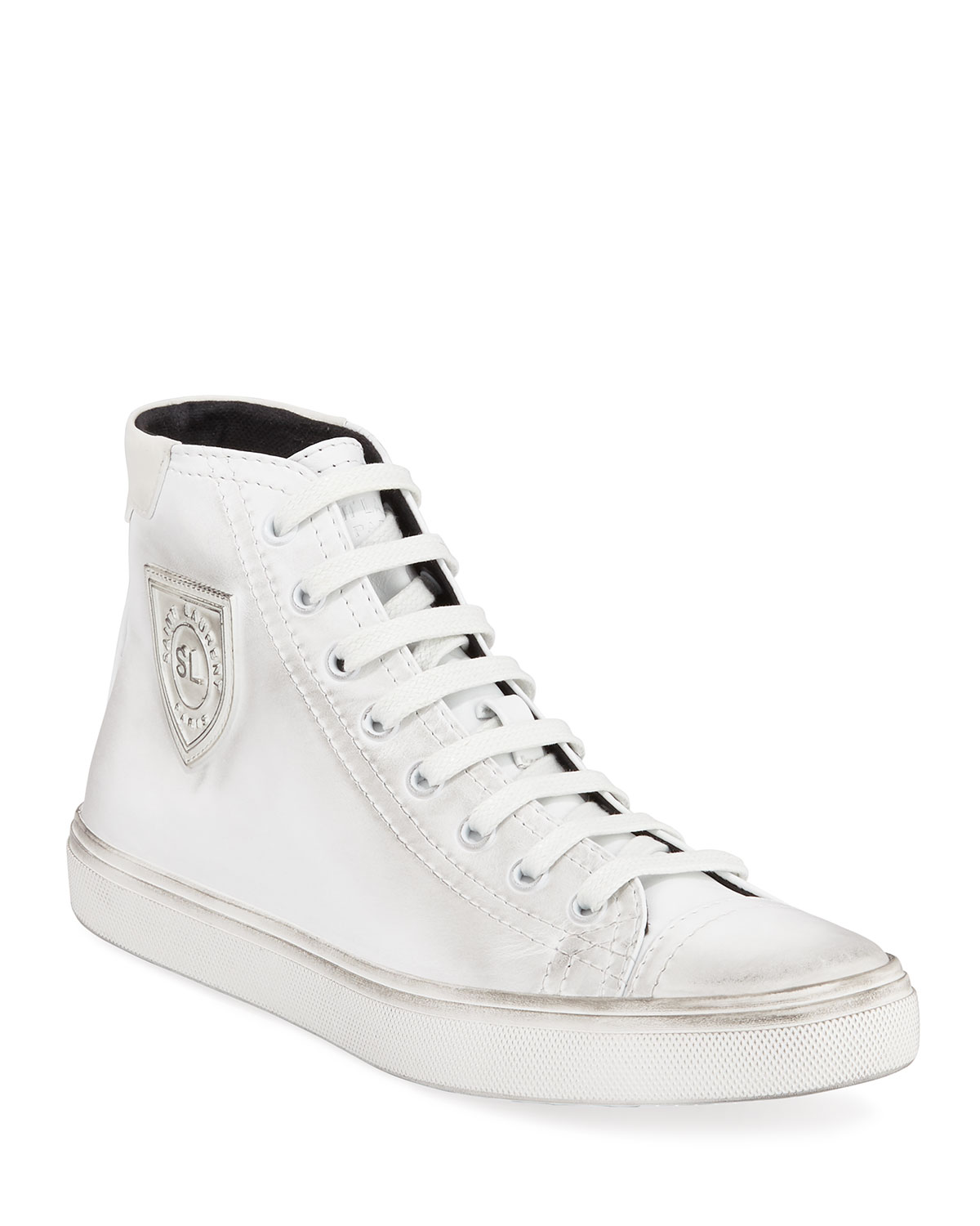 Bedford Distressed High Top Sneaker, White