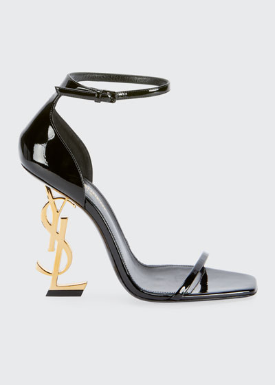 ebd86ecd6b56 Adjustable ankle strap. Opyum YSL Logo-Heel Sandals with Golden Hardware  Quick Look. Saint Laurent