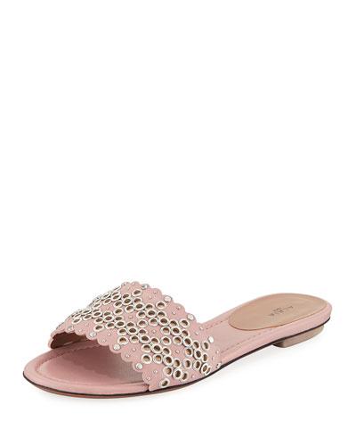 Embellished Flat Leather Slide Sandals