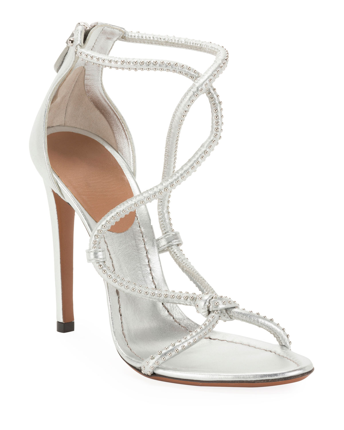 ALAÏA Twisted Studded Metallic Leather Sandals in Gray