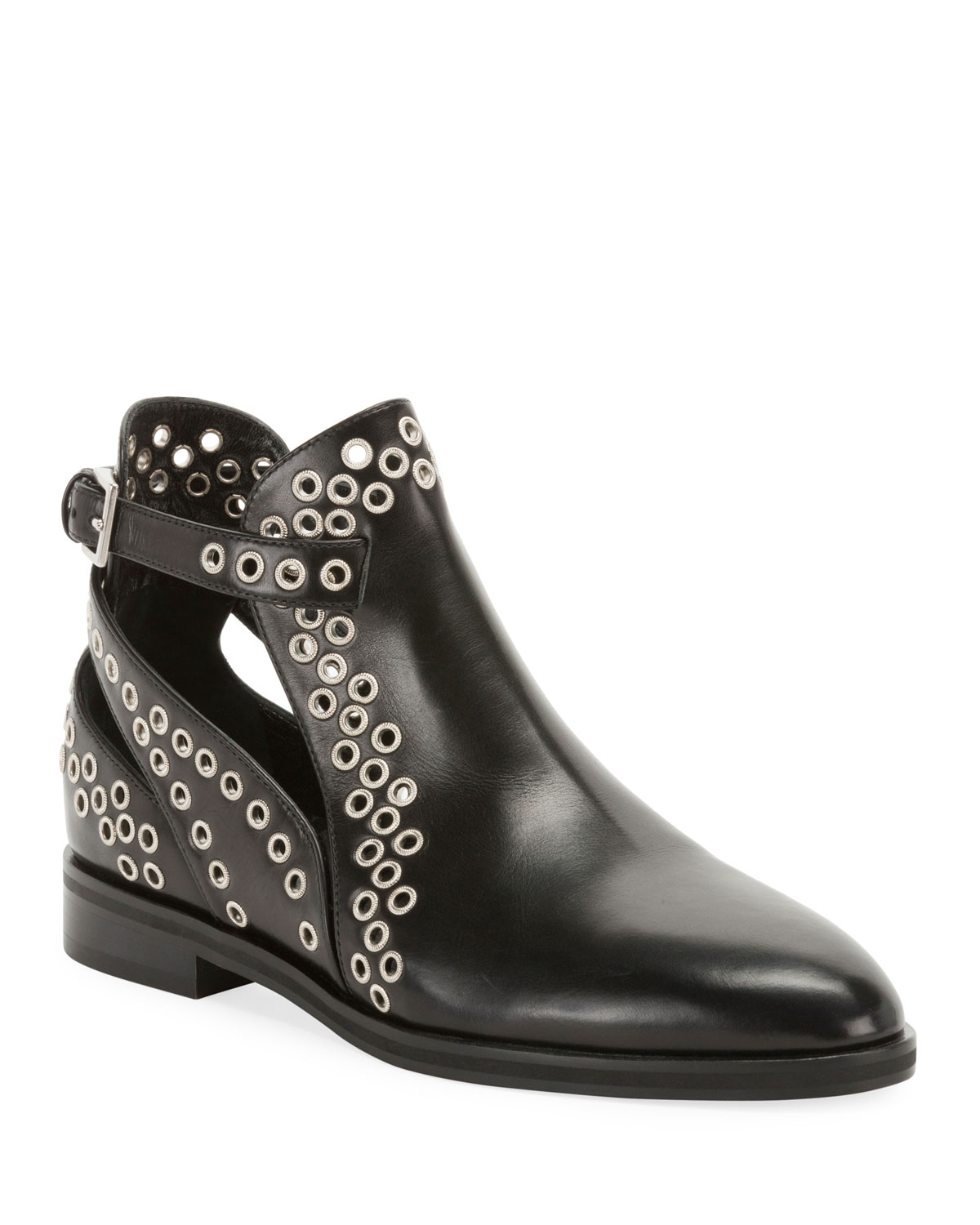 ALAÏA Leather Booties With Grommets in Black