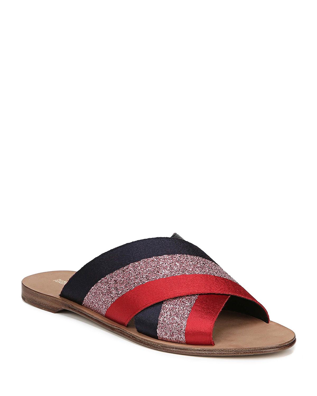 Bailie-2 Ribbon Crisscross Flat Slide Sandals in Red