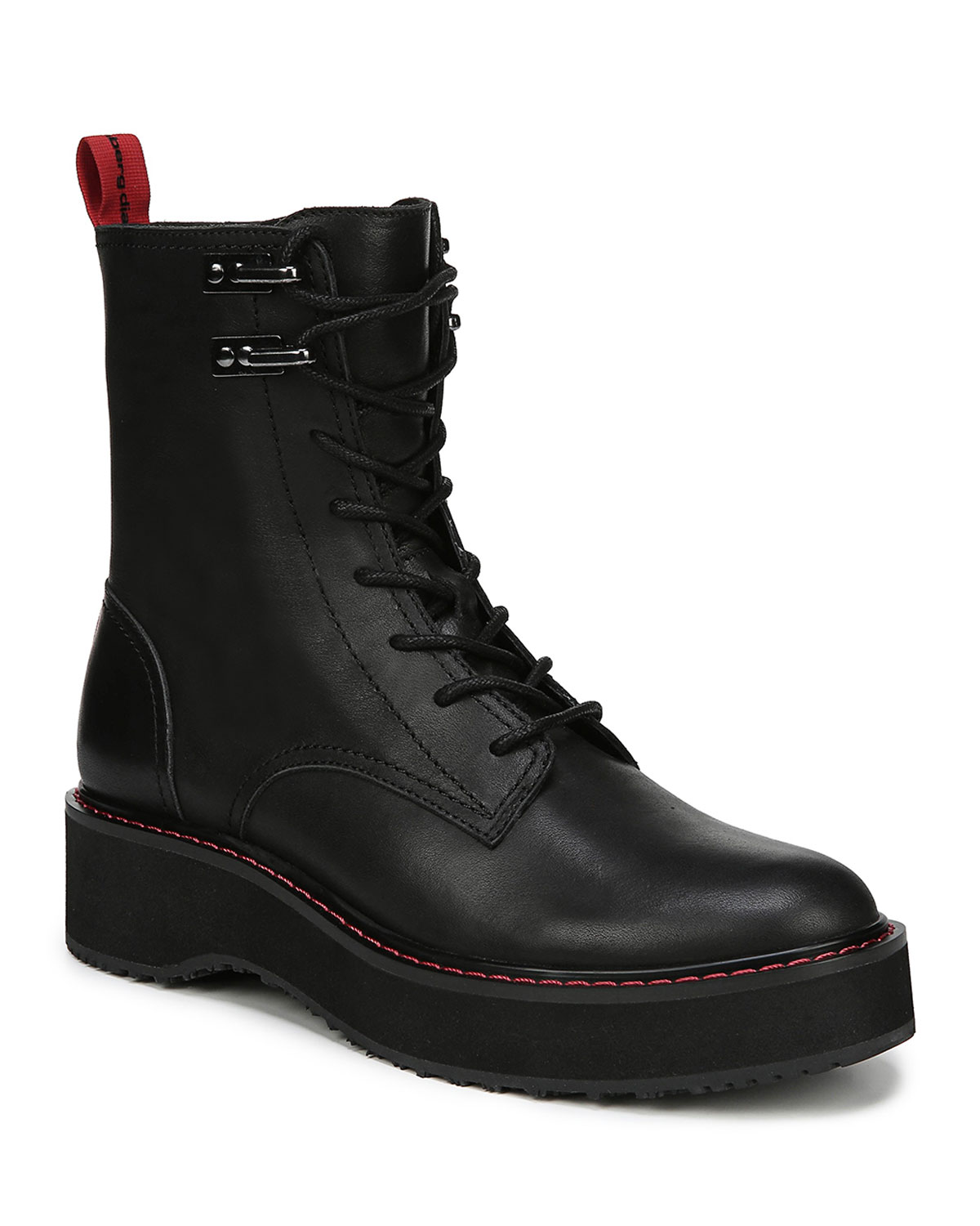 In Charge Lace-Up Leather Ankle Boots in Black