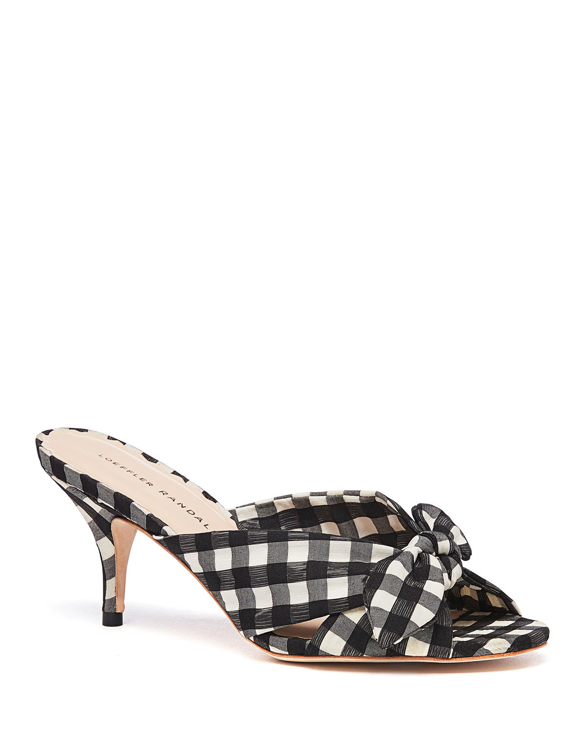 Luisa 55Mm Knotted Slide Sandals in Black/White
