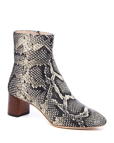Gema Snake-Print Leather Block-Heel Booties
