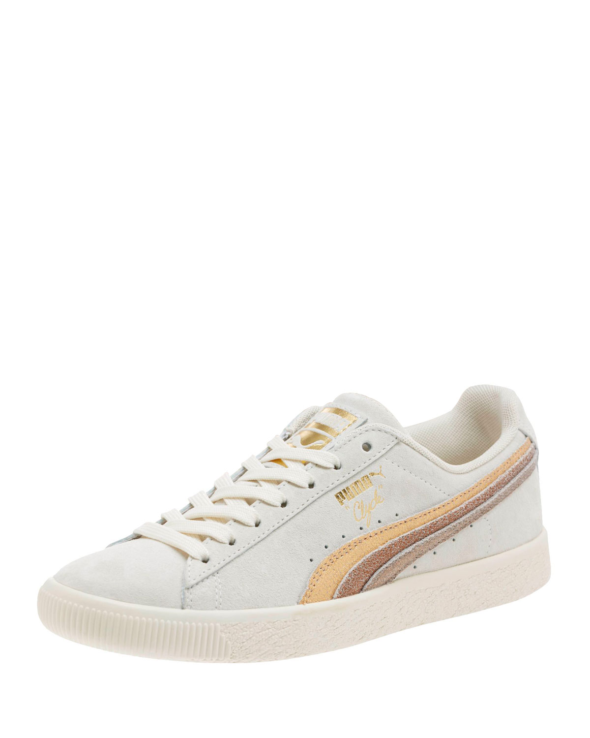 Clyde Suede Platform Sneakers, White