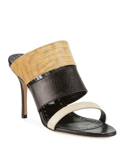 Tretya Colorblock Leather/Lizard Slide Sandals
