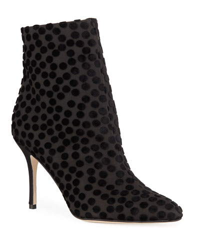 Insopolo Dotted Velvet Zip Booties