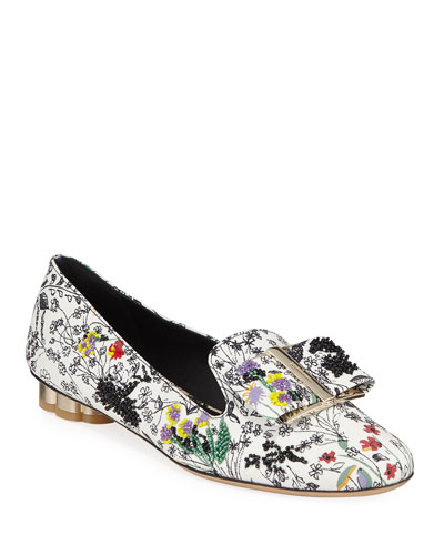 Sarno Beaded Floral-Printed Loafers