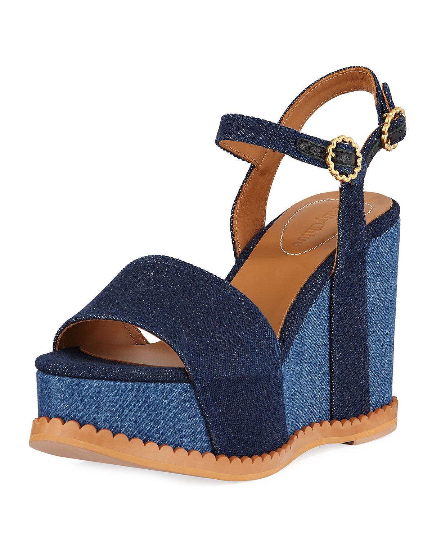 Two-Tone Platform Denim Sandals, Indigo