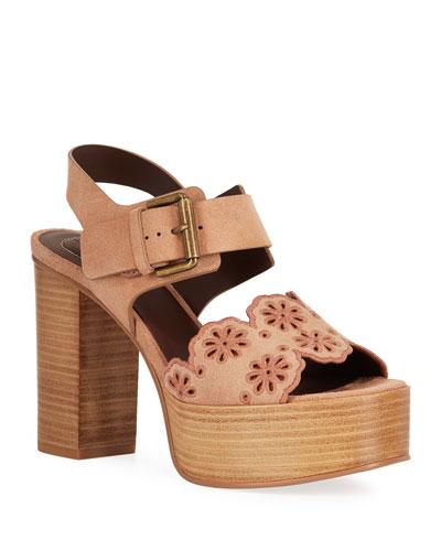 Eyelit Platform Suede Sandals