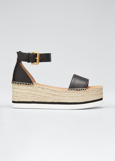 Glyn Leather Platform Espadrilles