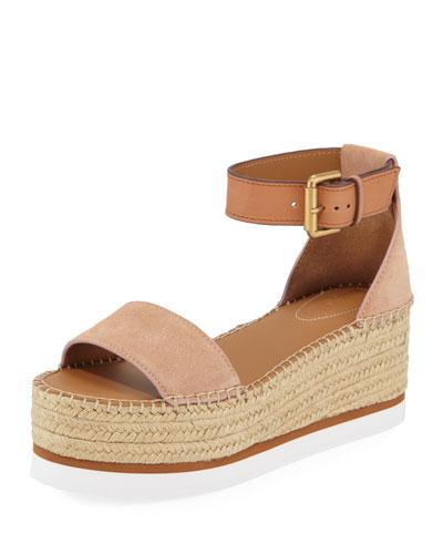 Glyn Suede Ankle-Strap Flatform Espadrilles