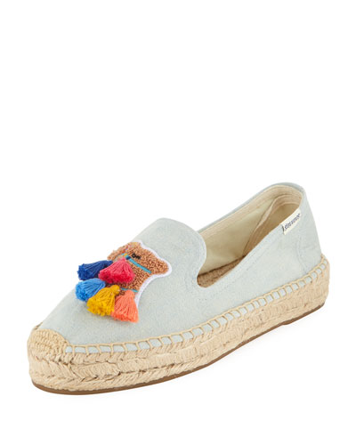 Tassel Camel Espadrille Smoking Slippers
