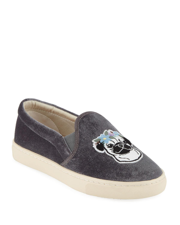 Flower Pug Velvet Slip-On Sneakers, Gray