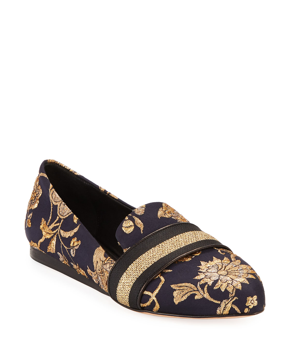 Griffin Flat Metallic Brocade Loafers, Black/Gold